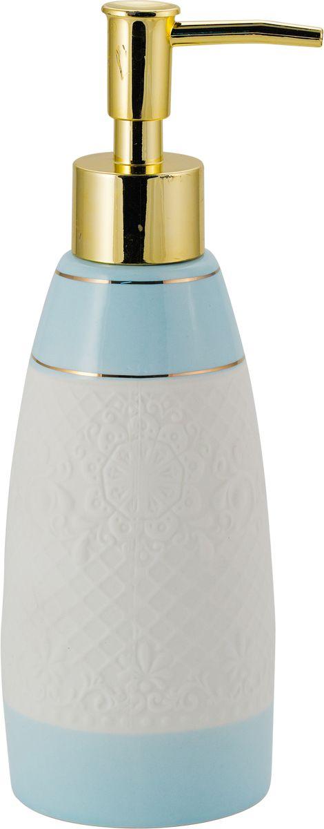 Дозатор для жидкого мыла Swensa Романс, цвет: белый, голубой, 250 млSWTK-2800AДозатор для жидкого мыла из коллекции Романс — это не только функциональное устройство, но и важный декоративный элемент, который подчеркнет элегантность внутренней обстановки ванной. Комбинация перламутра, кружева и золотого блеска выглядит стильно и прекрасно сочетается с любым цветовым решением интерьера. Натуральная керамика не изменяет свой цвет с течением времени и сохраняет неизменную форму.