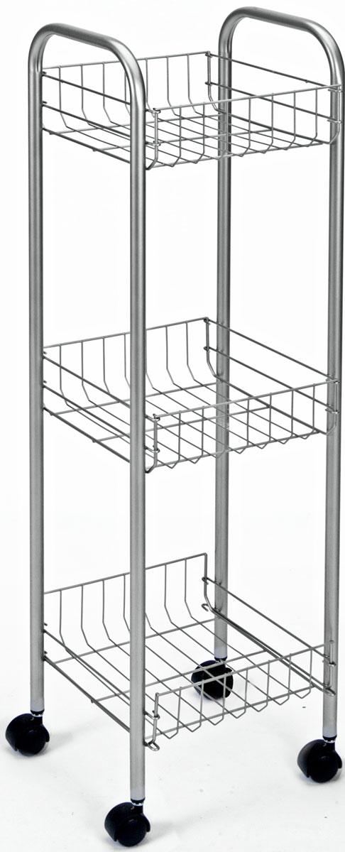 Этажерка 3-х уровневая Toronto, 23 x 23 x 83 см34.37.03Этажерка Toronto предназначена для использования в любых помещениях. Идеально подходит для использования на кухнях, ванных комнатах. Легко перемещается с помощью колесиков. Характеристики: Материал: сталь с поитермическим покрытием. Размер этажерки: 23 см х 23 см х 83 см. Размер полки: 20 см х 20 см х 8 см. Размер упаковки: 85 см х 24 см х 7 см.