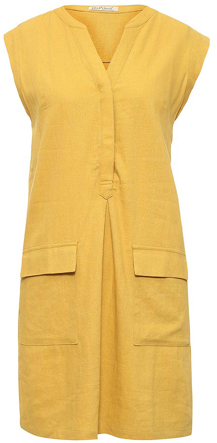 Платье Sela, цвет: ярко-желтый. Dsl-117/525-7244. Размер 44Dsl-117/525-7244Женское платье Sela выполнено изо льна с добавлением хлопка и дополнено двумя накладными карманами с клапанами. Модель А-силуэта с V-образным вырезом горловины застегивается на пуговицы, скрытые планкой. Мягкая ткань на основе полиэстера комфортна и приятна на ощупь. Платье подойдет для офиса, прогулок и дружеских встреч и станет отличным дополнением гардероба в летний период.