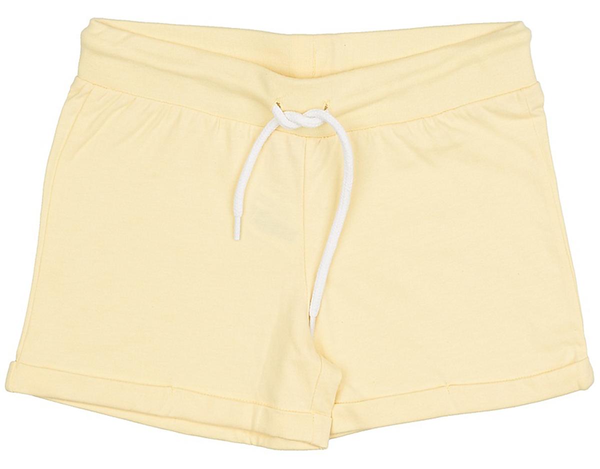 Шорты для девочки Sela, цвет: светло-желтый. SHk-615/519-7234. Размер 140SHk-615/519-7234Короткие шорты для девочки Sela выполнены из натурального хлопка в спортивном стиле. Шорты прямого кроя с фиксированными отворотами на талии имеют широкий пояс на мягкой резинке, дополнительно регулируемый шнурком.