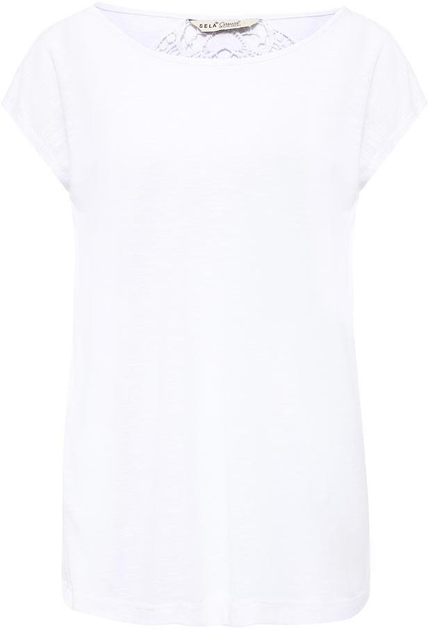 Футболка женская Sela, цвет: белый. Ts-111/717-7225. Размер L (48)Ts-111/717-7225Модная женская футболка Sela с ажурной вставкой на спинке выполнена из легкого качественного материала. Модель прямого кроя с цельнокроеными рукавами подойдет для прогулок и дружеских встреч и будет отлично сочетаться с джинсами и брюками, а также гармонично смотреться с юбками. Воротник изделия дополнен мягкой эластичной бейкой. Мягкая ткань на основе вискозы и полиэстера комфортна и приятна на ощупь.