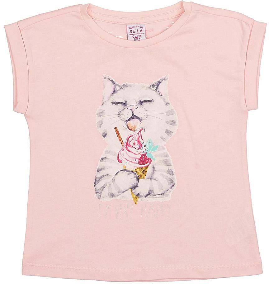 Футболка для девочки Sela, цвет: светло-розовый. Tsl-511/412-7215. Размер 104Tsl-511/412-7215Модная футболка для девочки Sela выполнена из натурального хлопка и оформлена оригинальным принтом. Модель прямого кроя с цельнокроеным рукавом подойдет для прогулок и дружеских встреч и будет отлично сочетаться с джинсами и брюками, а также гармонично смотреться с юбками. Воротник изделия дополнен мягкой трикотажной резинкой.Мягкая ткань комфортна и приятна на ощупь. Яркий цвет модели позволяет создавать стильные образы.