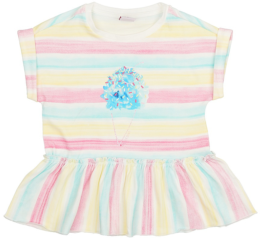 Футболка для девочки Sela, цвет: бежевый. Ts-511/410-7215. Размер 110Ts-511/410-7215Модная футболка для девочки Sela выполнена из эластичного хлопка и оформлена ярким принтом. Модель прямого кроя с цельнокроеными рукавами подойдет для прогулок и дружеских встреч и будет отлично сочетаться с джинсами, брюками и лосинами. Воротник изделия дополнен мягкой трикотажной резинкой, низ - широким воланом.