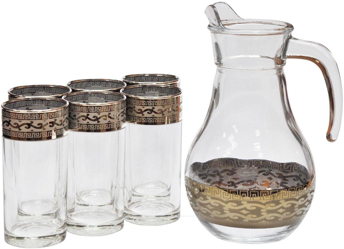 Набор для воды Гусь-Хрустальный Версаче, 7 предметов. GE08-3944/402GE08-3944/402Набор Гусь-Хрустальный Версаче состоит из 6 стаканов и кувшина, изготовленных из высококачественного стекла. Изделия оформлены красивым золотистым орнаментом. Такой набор прекрасно дополнит праздничный стол и станет желанным подарком в любом доме. Разрешается мыть в посудомоечной машине. Не использовать в СВЧ печи и на открытом огне.Объем кувшина: 1 л. Объем стакана: 290 мл.