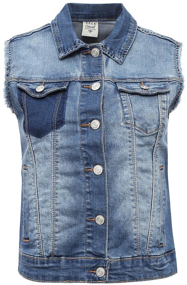 Жилет женский Sela, цвет: синий джинс. Vj-336/005-7213. Размер 44Vj-336/005-7213Стильный джинсовый жилет Sela выполнен из качественного хлопкового материала с эффектом потертостей. Модель прямого кроя с отложным воротничком застегивается на пуговицы и дополнена двумя прорезными карманами по бокам и двумя прорезными карманами с клапанами на пуговицах на груди. Жилет подойдет для прогулок и дружеских встреч и будет отлично сочетаться с джинсами и брюками, а также гармонично смотреться с юбками.