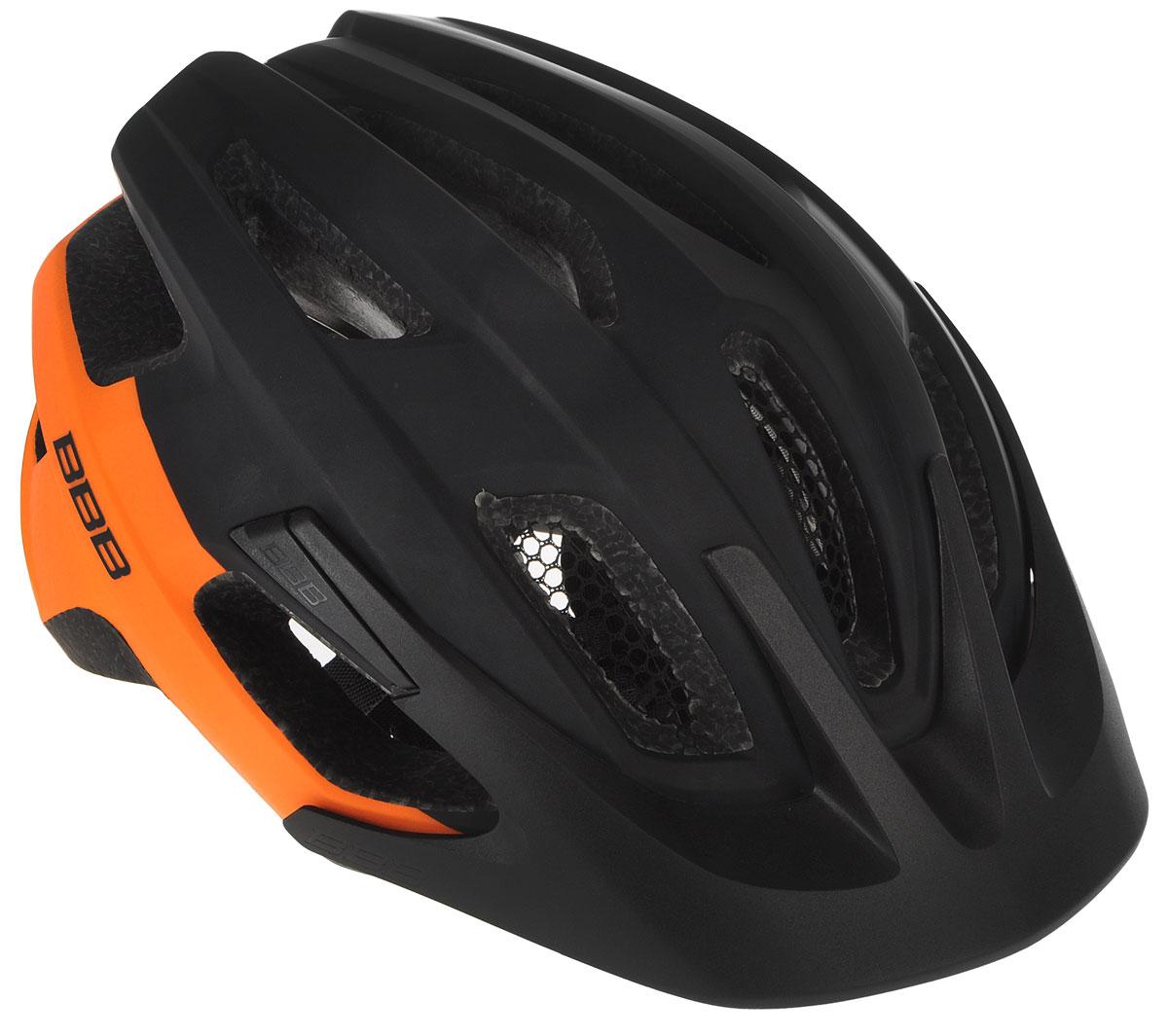 Шлем летний BBB Kite, со съмным козырьком, цвет: черный, оранжевый. Размер MBHE-29Шлем BBB Kite, предназначенный для велосипедистов, скейтбордистов и роллеров, снабжен настраиваемыми ремешками для максимально комфортной посадки. Система TwistClose - позволяет настроить шлем одной рукой. Увеличенное количество вентиляционных отверстий гарантирует отличную циркуляцию воздуха на разных скоростях движения при сохранении жесткости, а отверстия для вентиляции в задней части шлема предназначены для оптимального распределения потока воздуха. Шлем оснащен съемными мягкими накладками с антибактериальными свойствами и съемным козырьком. Внутренняя часть изделия изготовлена из пенополистирола. Ее роль заключается в рассеивании энергии при ударе, а низкопрофильная конструкция обеспечивает дополнительную защиту наиболее уязвимых участков головы. Фронтальные отверстия изделия прикрыты мелкой сеткой для защиты от насекомых. Верхняя часть шлема, выполненная из прочного пластика, препятствует разрушению изделия, защищает его от прокола и позволять ему скользить при ударах. Шлем имеет светоотражающие наклейки и 14 вентиляционных отверстий, которые делают катание максимально комфортным.Размер: M. Обхват головы: 55-58 см.