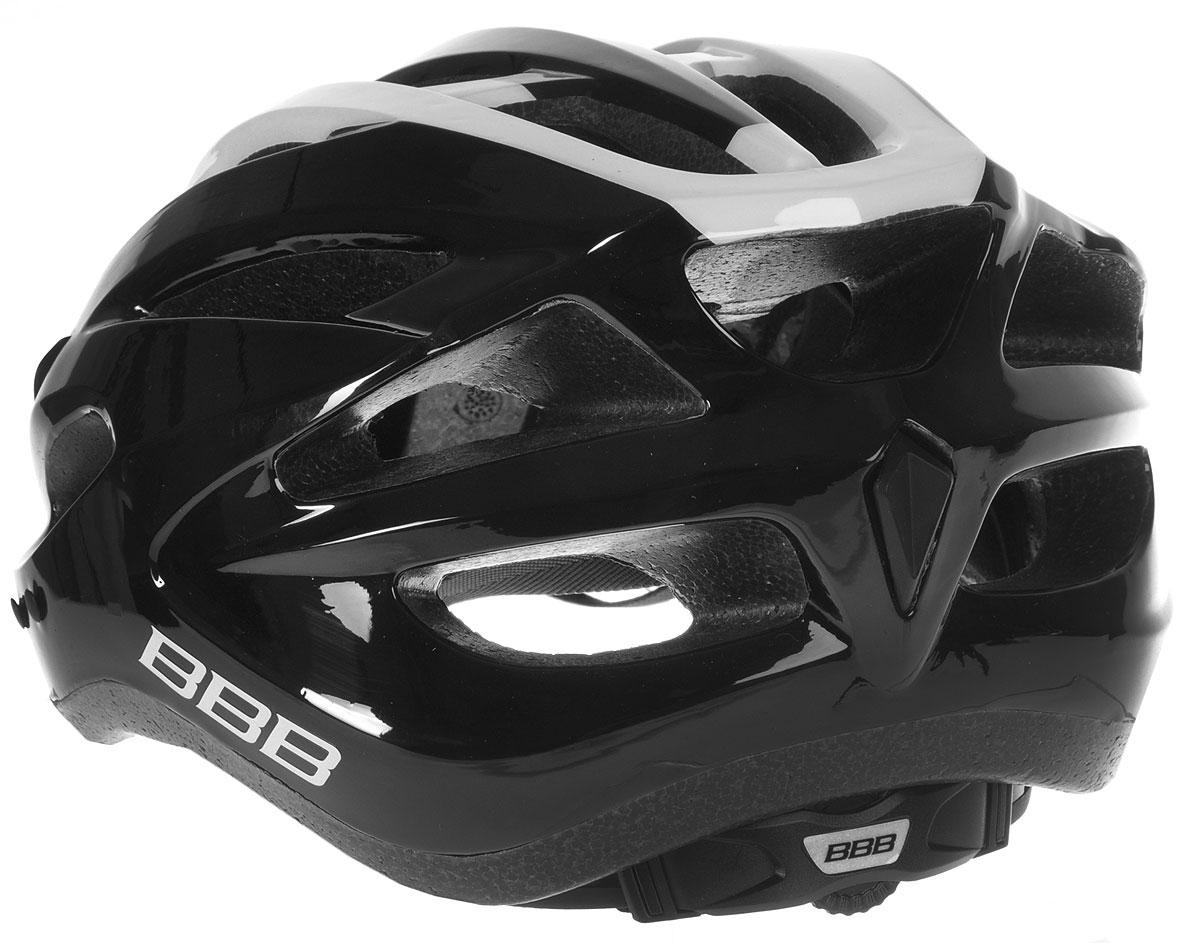 """Шлем BBB """"Condor"""", предназначенный для велосипедистов,   скейтбордистов и роллеров, снабжен настраиваемыми   ремешками для максимально комфортной посадки. Система   TwistClose - позволяет настроить шлем одной рукой.   Увеличенное количество вентиляционных отверстий   гарантирует отличную циркуляцию воздуха на разных   скоростях движения при сохранении жесткости, а отверстия   для вентиляции в задней части шлема предназначены для   оптимального распределения потока воздуха.  Шлем оснащен съемными мягкими накладками с   антибактериальными свойствами и съемным козырьком.   Внутренняя часть изделия изготовлена из пенополистирола.   Ее роль заключается в рассеивании энергии при ударе, а   интегрированная конструкция защищает голову при ударе.   Фронтальные отверстия изделия прикрыты мелкой сеткой   для защиты от насекомых. Верхняя часть шлема,   выполненная из прочного пластика, препятствует   разрушению изделия, защищает шлем от прокола и   позволять ему скользить при ударах. Способность шлема скользить по поверхности является   важной его характеристикой, так как при падении движение   уменьшается не сразу, а постепенно, снижая тем самым   нагрузку на голову и шею.  Надежный шлем с ярким дизайном имеет светоотражающие   наклейки на задней части изделия. Такой шлем обеспечит   высокую степень защиты, а 18 вентиляционных отверстий   сделают катание максимально комфортным.  Размер: L. Обхват головы: 58-61,5 см.      Гид по велоаксессуарам. Статья OZON Гид"""