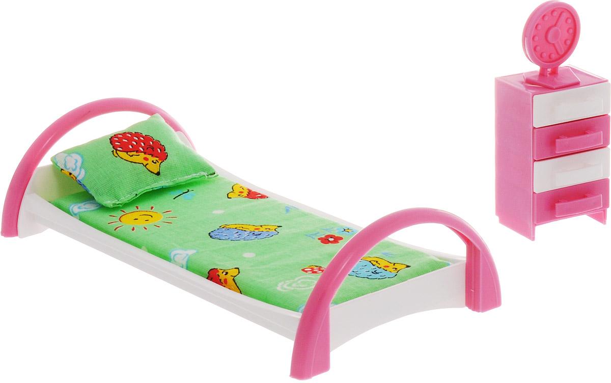 Форма Набор мебели для кукол Кровать с тумбочкой Ежик цвет зеленый