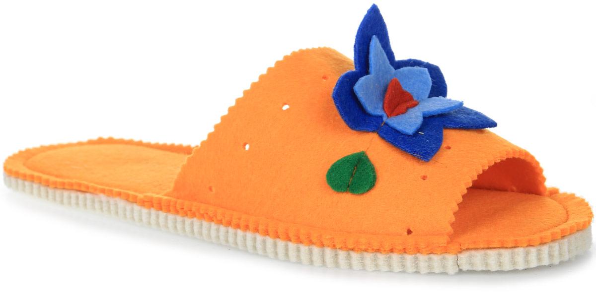 Тапки для бани и сауны Доктор баня Букет, цвет: оранжевый. Размер универсальный