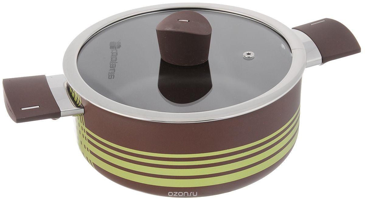 Кастрюля Polaris Allure с крышкой, с антипригарным покрытием, 2,8 лAL-20C_коричневый, зеленыйКастрюля Polaris Allure выполнена из литого алюминия и оснащена удобными бакелитовыми ручками с покрытием Soft Touch. Благодаря внутреннему износостойкому антипригарному покрытию пища не пригорает и не прилипает к стенкам. Готовить можно с минимальным количеством масла и жиров. Гладкая поверхность обеспечивает легкость ухода за посудой. Изделие оснащено крышкой из жаропрочного стекла с отверстием для выпуска пара.Посуда равномерно распределяет тепло и обладает высокой устойчивостью к деформации, легкая и практичная в эксплуатации. Подходит для использования на электрических, газовых и стеклокерамических плитах. Не подходит для индукционных плит и для духовых печей. Нельзя мыть в посудомоечной машине. Диаметр кастрюли: 20 см. Высота стенки: 8,5 см. Ширина (с учетом ручек): 31,5 см.
