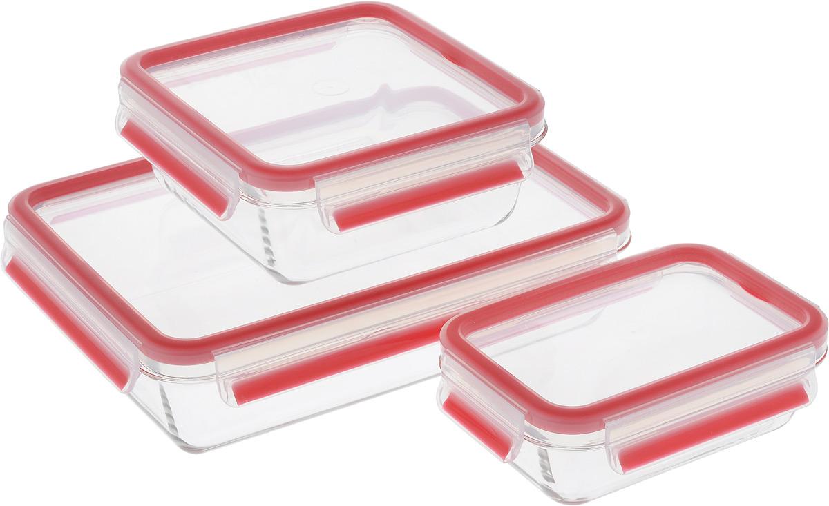 """Набор Emsa """"Clip&Close Glass"""" состоит из трех контейнеров разного объема, изготовленных из  жаропрочного диамантового стекла, которое не впитывает запахи и не изменяет цвет. Это  абсолютно гигиеничный продукт, который подходит для хранения даже детского питания.  Изделия снабжены крышками, плотно закрывающимися на 4 защелки. Герметичность  достигается за счет специальных силиконовых прослоек, которые позволяют использовать  контейнер для хранения не только пищи, но и жидкости. В таком контейнере продукты долгое  время сохраняют свою свежесть. Прозрачные стенки позволяют просматривать содержимое.  Изделия подходят для домашнего использования, в них удобно запекать, разогревать и хранить  пищу.  Можно использовать в СВЧ-печах, холодильниках, духовых шкафах, посудомоечных машинах,  морозильных камерах.  Размер контейнера на 0,5 л: 16 х 11 х 6 см. Размер контейнера на 0,9 л: 16 х 16 х 7 см. Размер контейнера на 2 л: 26 х 19 х 7 см."""