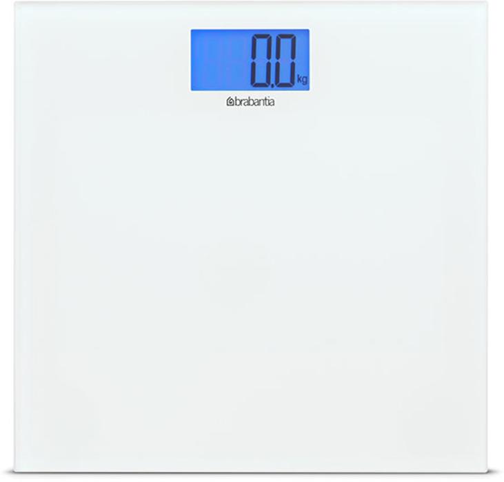Весы для ванной комнаты Brabantia, цвет: белый. 483127483127Высокая точность измерений, дискретность шкалы – 0,1 кг. Большой предел взвешивания – максимум 180 кг. Отличная устойчивость – прочные защитные нескользящие колпачки. Изделие поставляется с комплектом батарей (2 литиевые батареи CR2032/3V).