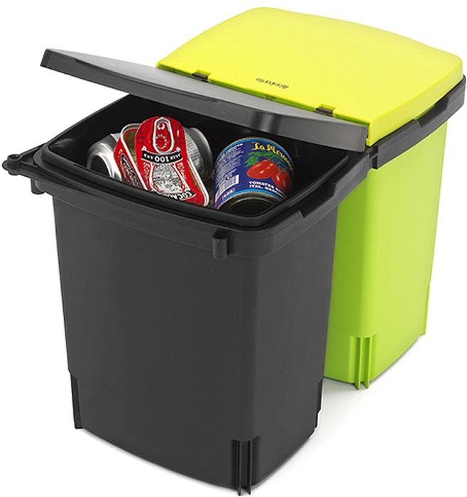 Ведро мусорное Brabantia, встраиваемое, двухсекционное, цвет: черный, зелёный, 2 х 10 л. 482205482205Компактный встраиваемый двухсекционный бак экономит место на кухне и идеально подходит для раздельного сбора мусора.Компактный – устанавливается практически в любой кухонный шкаф, подходит для дверей, открывающихся влево или вправо.Удобное освобождение от мусора и очистка – два съемных ведра на 10 литров из прочного пластика.Удобное разделение мусора и очистка – подходящие по размеру мешки для мусора (раздел C).Удобный доступ к мусорным ведрам – бак выдвигается из шкафа при открывании дверцы шкафа.Минимальные установочные размеры: в 38 x ш 52 x г 30 см.10-летняя гарантия Brabantia.