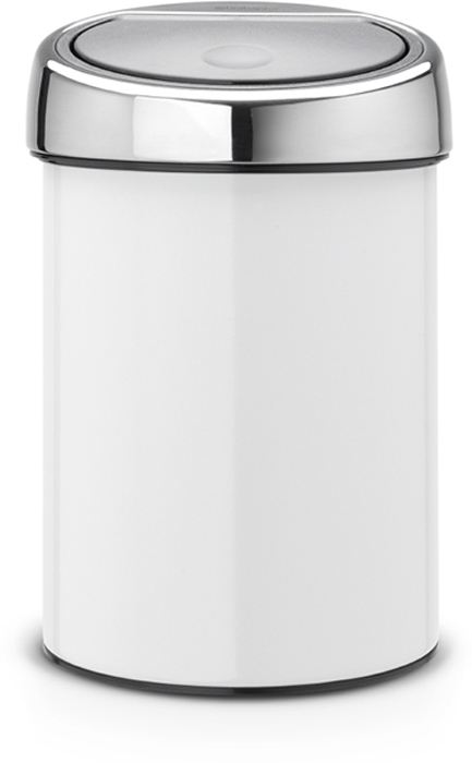 Бак мусорный Brabantia Touch Bin, цвет: белый, 3 л. 364488 brabantia мусорный бак touch bin 30 л
