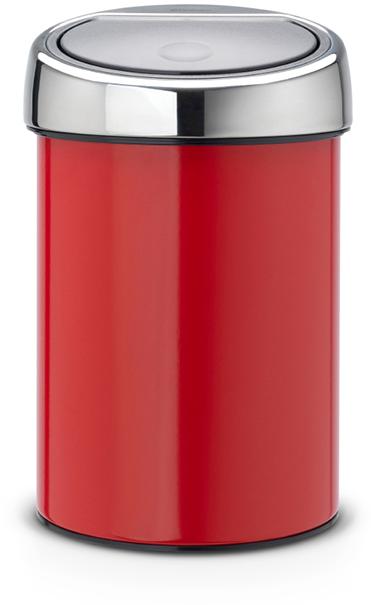Бак мусорный Brabantia Touch Bin, цвет: красный, 3 л. 364426 brabantia мусорный бак touch bin 30 л
