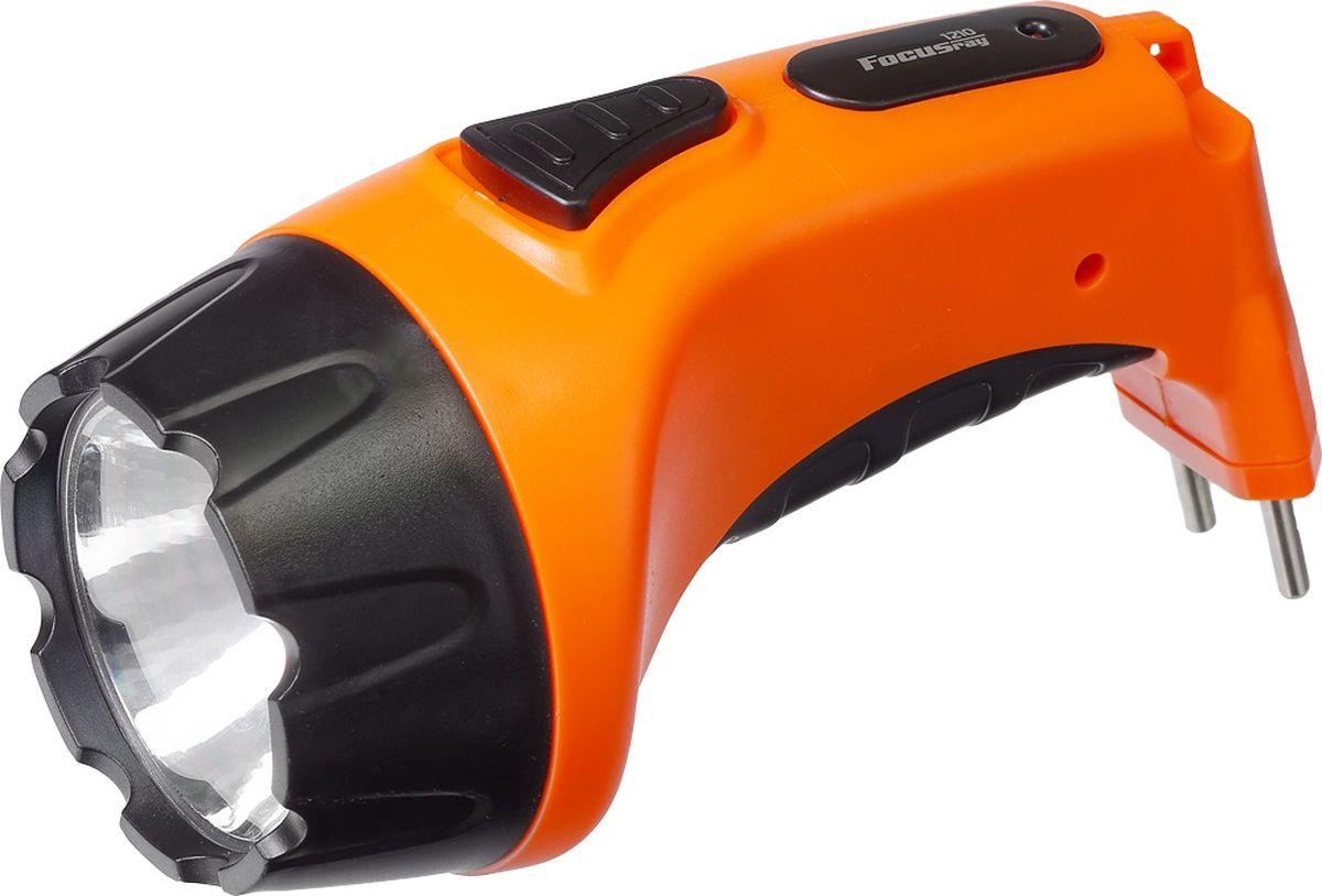 Фонарь ручной FOCUSray, цвет: оранжевый. FR-1210FR-1210Корпус ручного фонаря FOCUSray выполнен из прочного пластика. Фонарь имеет 1 светодиод мощностью 1 Вт. Фонарь оснащен вcтроенной зарядкой от сети 220 В.Размер: 15,5 х 7 х 7,5 см.Дальность свечения: до 200 м.Источник питания: свинцово-кислотный аккумулятор 4В 0,8 а/ч.Время работы: до 240 минут.