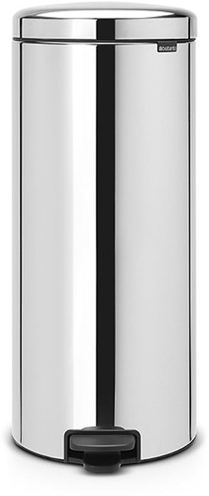 Бак мусорный Brabantia NewIcon, с педалью, цвет: стальной полированый, 30 л. 114366114366Этот высокий вместительный бак на 30 литров с педалью - превосходное решение для большой семьи. Бесшумный - плавное закрывание крышки и необыкновенно мягкий ход педали. Не пропускает запах - плотно прилегающая крышка. Устойчивый - специальное устройство, предотвращающее опрокидывание бака. Не повреждает пол - нескользящее основание. Удобная очистка - съемное внутреннее пластиковое ведро. Бак удобно перемещать - специальная ручка в блоке крепления крышки. Всегда опрятный вид - в комплекте идеально подходящие по размеру мешки для мусора PerfectFit (размер G). Изготовлен на 40% из переработанных материалов, подлежит вторичной переработке вместе с упаковкой на 98%. Сертификат соответствия концепции регенерации Cradle to Cradle.