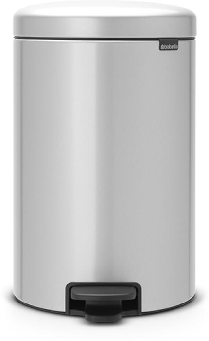 Бак мусорный Brabantia NewIcon, с педалью, цвет: серый металлик, 20 л. 114069 brabantia мусорный бак с педалью newicon 30 л 67 5х30х34 см серый металлик