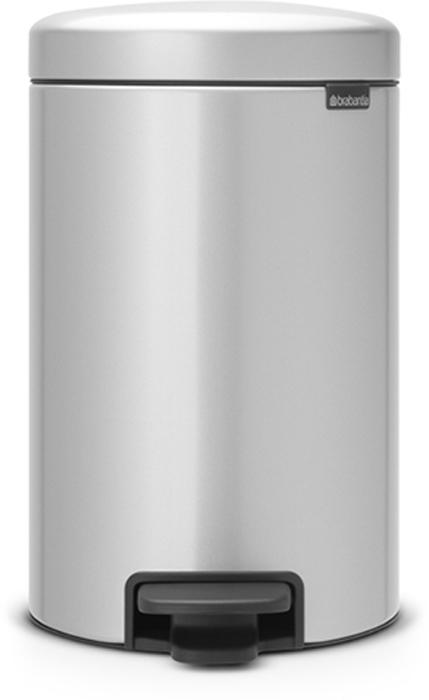 Бак мусорный Brabantia NewIcon, с педалью, цвет: серый металлик, 12 л. 113680 brabantia мусорный бак с педалью newicon 30 л 67 5х30х34 см серый металлик