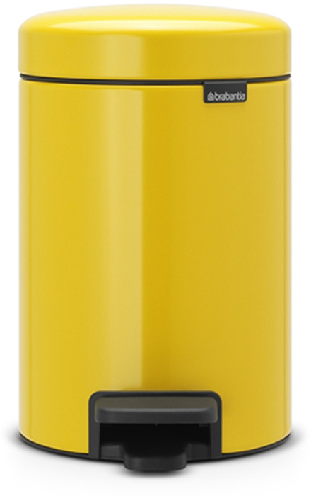 Бак мусорный Brabantia NewIcon, с педалью, цвет: желтая маргаритка, 3 л. 113123113123Этот небольшой изящный бак на 3 литра гарантирует большое преображение вашего самого маленького помещения в доме!Бесшумный - плавное закрывание крышки и необыкновенно мягкий ход педали. Не пропускает запах - плотно прилегающая крышка. Устойчивый - специальное устройство, предотвращающее опрокидывание бака. Не повреждает пол - нескользящее основание. Удобная очистка - съемное внутреннее пластиковое ведро. Всегда опрятный вид - в комплекте идеально подходящие по размеру мешки для мусора PerfectFit (размер A). Изготовлен на 40% из переработанных материалов, подлежит вторичной переработке вместе с упаковкой на 98%. Сертификат соответствия концепции регенерации Cradle to Cradle.