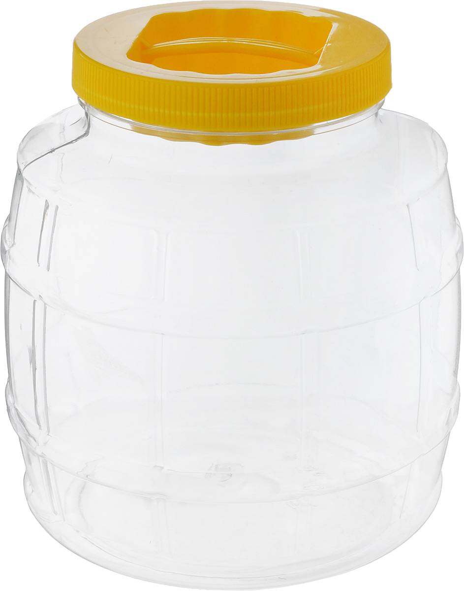 """Емкость Альтернатива """"Бочонок"""" изготовлена из качественного  пластика и оснащена пластиковой закручивающейся крышкой.  Изделие выполнено в форме бочонка с прозрачными  стенками, что позволяет видеть содержимое. В такой удобной  емкости можно хранить макароны, крупы, сахар, соль и многое  другое. Крышка дополнена небольшой пластиковой ручкой.   Высота емкости (с учетом крышки): 18,5 см.  Диаметр емкости (по верхнему краю): 10 см.  Диаметр дна: 15 см."""