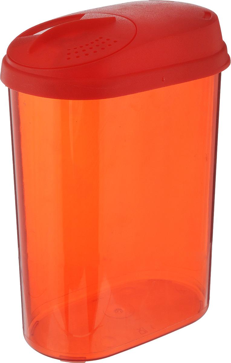 """Банка """"Giaretti"""", выполненная из высококачественного пластика,  предназначена для хранения круп, сахара, макаронных изделий  и других сыпучих продуктов. Плотно прилегающая крышка не  пропускает запахи содержимого в шкаф для хранения, при этом  продукт не теряет своего аромата. Двойной дозатор  предназначен для мелких и крупных сыпучих продуктов.   Можно мыть в посудомоечной машине.  Объем: 1,6 л. Размер (по верхнему краю): 14,5 x 8,5 см. Высота (с учетом крышки): 20,5 см."""