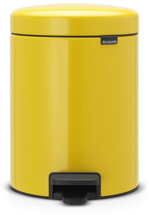 Бак мусорный Brabantia NewIcon, с педалью, цвет: желтая маргаритка, 5 л. 112522 brabantia мусорный бак с педалью newicon 3 л 26 4х17х23 5 см мятный металлик