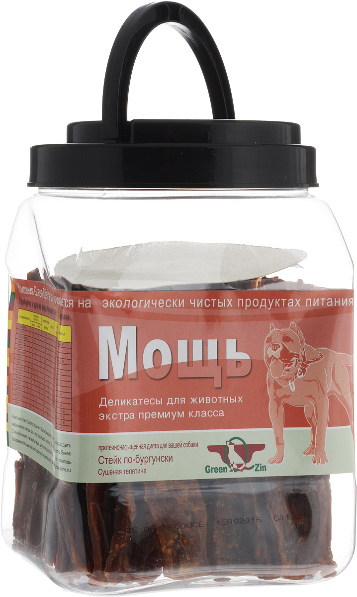 Лакомство для собак GreenQZin Мощь, сушеное телячье мясо, 750 гVlSl750tЛакомство для собак GreenQZin Мощь изготовлено из нежного мяса телят. Мясо - обязательный компонент полноценного питания любой собаки, незаменимый источник белков и витаминов. В телятине содержится мало жира, зато она имеет высокое содержание протеина. В ломтиках содержание протеина доходит до 67%. Поэтому телятина особенно полезна щенкам, когда идет интенсивный рост костей, мышц и сухожилий собаки. Корм с телятиной развивает костный скелет и мышечный корсет вашего питомца, поддерживает нормальный жировой обмен и баланс питательных веществ, стимулирует работу желез внутренней секреции. Телятина - это также важный источник витаминов А1, Е, С, В6, В12, РР, В2, В1 и поставщик минеральных солей, которые благотворно воздействую на эндокринную систему, провоцируют рост и развитие организма. Для взрослых собак лакомство Мощь - это способ поддерживать отличную физическую форму. Лакомство не содержит консервантов, красителей, гормонов, антибиотиков и ГМО. Не вызывает аллергий. Товар сертифицирован.