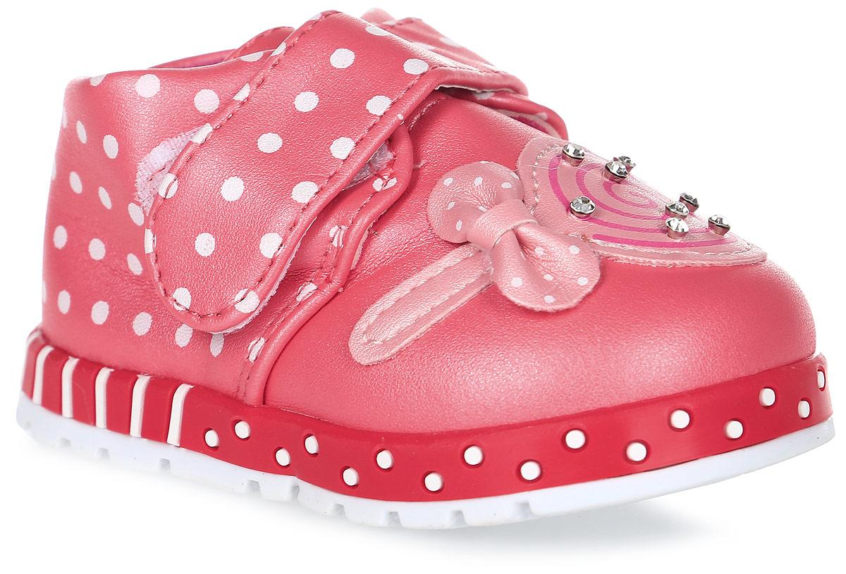 Пинетки для девочки Канарейка, цвет: красный. K1186. Размер 19K1186Оригинальные детские пинетки от компании Канарейка - это легкая и удобная обувь для малышей, которые еще не умеют или только учатся ходить. Верх модели выполнен из качественной искусственной кожи. Внутри изделие выполнено из мягкого текстиля. Застегиваются пинетки хлястиком на липучке. Оформлена модель декоративным элементом со стразами.