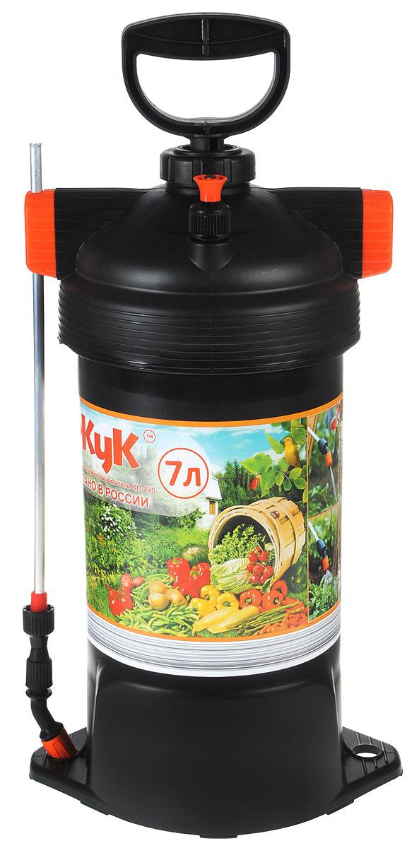 """Опрыскиватель ЖУК """"ОП-220"""" применяется для химической защиты растений от вредителей и болезней, а также для уничтожения сорняков. Возможно использование опрыскивателя для обработки поверхностей с использованием моющих средств, чистки стен, стекло и других работ. Принцип работы опрыскивателя основан на вытеснении жидкости из бачка давлением сжатого воздуха, создаваемого насосом. Удобный литраж бака делает его идеальным для использования на небольших садовых участках для обработки овощных культур и кустарников. Дизайн бака со съемной крышкой обеспечивает удобный залив жидкости, а мерная шкала внутри позволяет определить требуемый объем.Объем бака: 7 л.Длина брандспойта: 60 см.Рабочее давление: 0,23 Мпа.Расход рабочей жидкости: 0,6-0,8 л/мин.Диапазон регулировки факела распыла: от 0° до 90°.Давление срабатывания предохранительного клапана: не более 0,3 Мпа."""