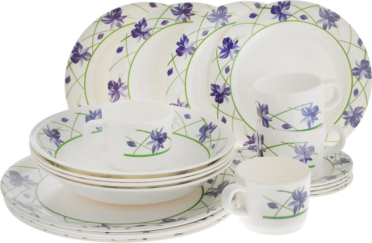 Набор столовой посуды Calve, цвет: белый, синий, фиолетовый, 20 предметовCL-2514_белый, синий, фиолетовыйНабор Calve состоит из 4 суповых тарелок, 4 обеденных тарелок, 4 десертных тарелок, 4 блюдец и 4 чашек. Изделия выполнены из высококачественного пластика, имеют яркий дизайн с изящным орнаментом. Посуда отличается прочностью, гигиеничностью и долгим сроком службы, она устойчива к появлению царапин. Такой набор прекрасно подойдет как для повседневного использования, так и для праздников или особенных случаев. Набор столовой посуды Calve - это не только яркий и полезный подарок для родных и близких, а также великолепное дизайнерское решение для вашей кухни или столовой. Диаметр суповой тарелки (по верхнему краю): 23 см. Высота суповой тарелки: 4,5 см.Диаметр обеденной тарелки (по верхнему краю): 26 см. Высота обеденной тарелки: 2 см. Диаметр десертной тарелки (по верхнему краю): 20 см. Высота десертной тарелки: 1,5 см. Диаметр блюдца (по верхнему краю): 14,5 см. Высота блюдца: 1,7 см.Объем чашки: 237 мл.Диаметр чашки (по верхнему краю): 8 см.Высота чашки: 6,5 см.