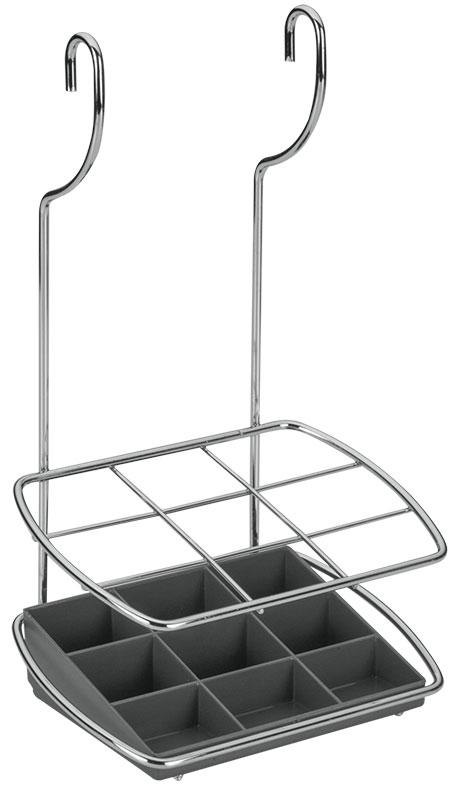 Подставка для столовых приборов Lonardo навесная35.03.24Удобная настенная подставка для столовых приборов Lonardo выполнена из нержавеющей стали. Она состоит из девяти отделений. Дно выполнено из пластика. Подставка крепится к стене на 2 петли. Такая подставка отлично подойдет к интерьеру Вашей кухни.Характеристики:Материал:нержавеющая сталь.Размер:17 см x 12 см х 30 см.Производитель:Италия.