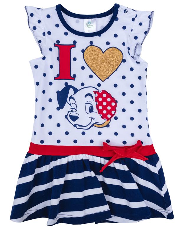 Платье для девочки PlayToday, цвет: белый, синий, красный. 978003. Размер 74978003Платье для девочки PlayToday выполнено из качественного материала. Модель с круглым вырезом горловины оформлена оригинальным принтом.