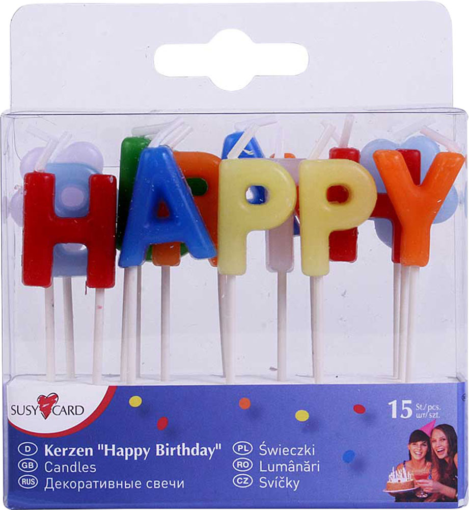Susy Card Свечи для торта детские Happy Birthday 15 шт happy birthday aunt greeting card