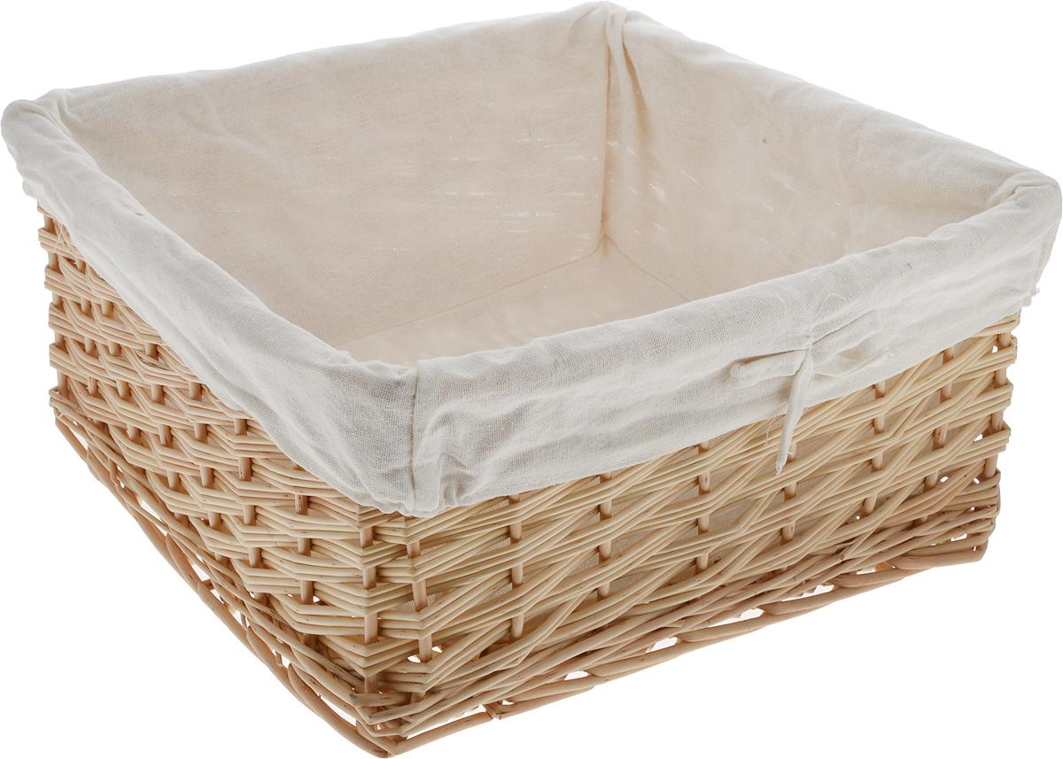"""Квадратная корзина """"Kesper"""" изготовлена из дерева и обшита текстилем. Она предназначена для хранения мелочей дома или на даче. Позволяет хранить мелкие вещи, исключая возможность их потери.  Корзина очень вместительная. Элегантный выдержанный дизайн позволяет органично вписаться в ваш интерьер и стать его элементом."""