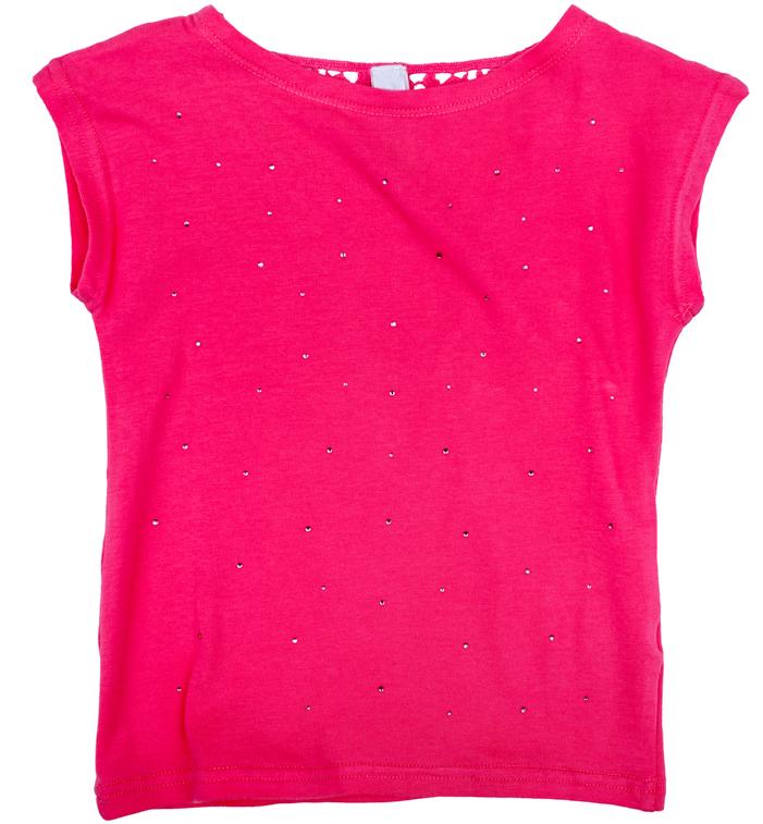 Футболка для девочки PlayToday, цвет: розовый. 278006. Размер 74278006Футболка для девочки PlayToday с круглым вырезом горловины и короткими рукавами оформлена стразами.