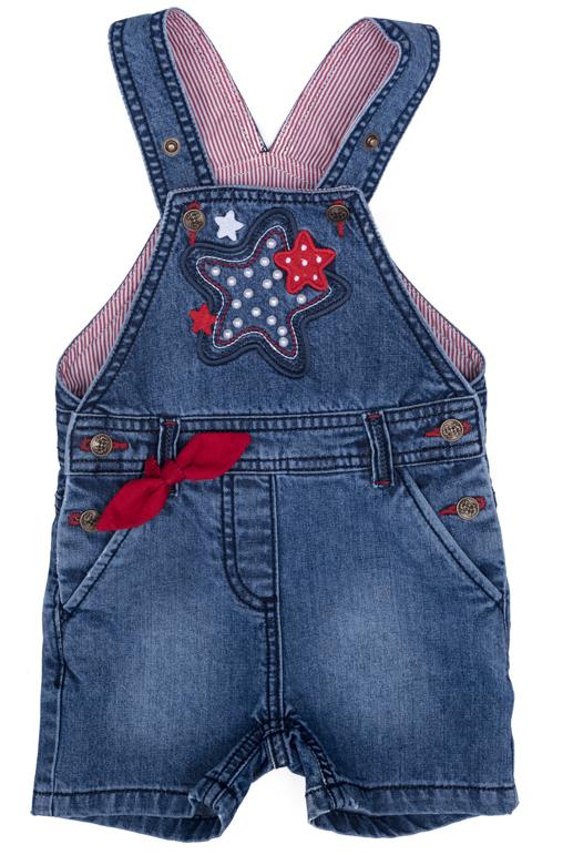 Полукомбинезон джинсовый для девочки PlayToday, цвет: синий, красный, белый, желтый. 278003. Размер 80278003Джинсовый полукомбинезон на регулируемых бретелях оформлен аппликацией.