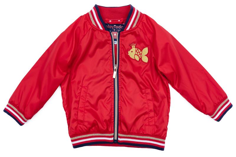 Куртка для девочки PlayToday, цвет: красный, синий, белый, золотистый. 278001. Размер 80278001Куртка для девочки PlayToday выполнена из качественного материала. Модель с длинными рукавами застегивается на молнию.