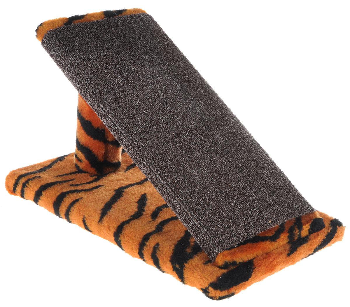 Когтеточка для котят Меридиан Горка, цвет: оранжевый, черный, коричневый, 45 х 25 х 25 смК103К ТКогтеточка Меридиан Горка предназначена для стачивания когтей вашего котенка и предотвращения их врастания. Она выполнена из ДВП, ДСП и искусственного меха. Точатся когти о накладку из ковролина. Когтеточка позволяет сохранить неповрежденными мебель и другие предметы интерьера.
