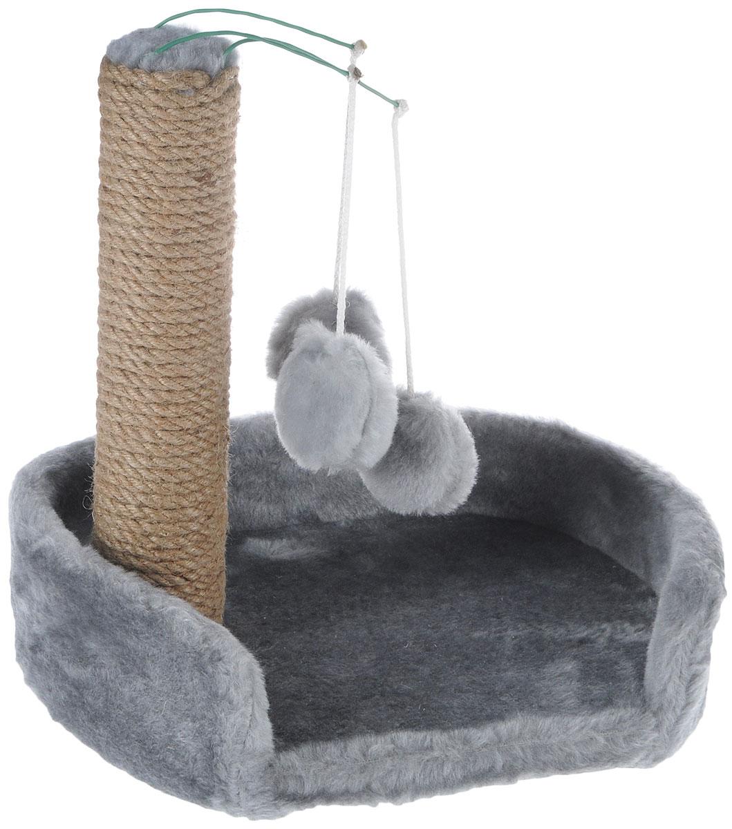 Когтеточка для котят Меридиан, с лежанкой, цвет: светло-серый, бежевый, 34 х 26 х 34 смК705ССКогтеточка Меридиан предназначена для стачивания когтей вашего котенка и предотвращения их врастания. Она выполнена из ДВП и ДСП и обтянута искусственным мехом. Точатся когти о столбик из джута. Когтеточка оснащена подвесными игрушками, привлекающими внимание котенка. Внизу имеется спальное место.Когтеточка позволяет сохранить неповрежденными мебель и другие предметы интерьера.