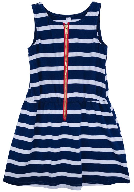 Платье для девочки PlayToday, цвет: синий, белый, красный. 272007. Размер 104272007Платье для девочки PlayToday выполнено из качественного материала. Модель с круглым вырезом горловины оформлено принтом в полоску.