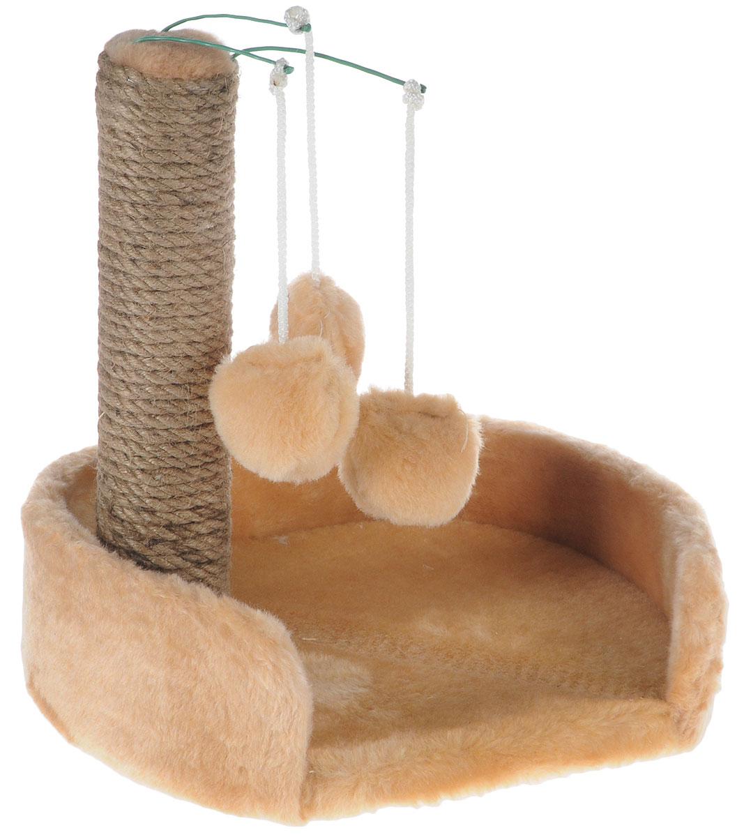 Когтеточка для котят Меридиан, с лежанкой, цвет: светло-коричневый, бежевый, 34 х 26 х 34 смК705СККогтеточка Меридиан предназначена для стачивания когтей вашего котенка и предотвращения их врастания. Она выполнена из ДВП и ДСП и обтянута искусственным мехом. Точатся когти о столбик из джута. Когтеточка оснащена подвесными игрушками, привлекающими внимание котенка. Внизу имеется спальное место.Когтеточка позволяет сохранить неповрежденными мебель и другие предметы интерьера.