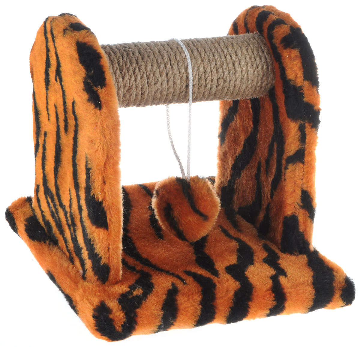 Когтеточка для котят Меридиан  Тигровая , с игрушкой, 26 х 26 х 26 см