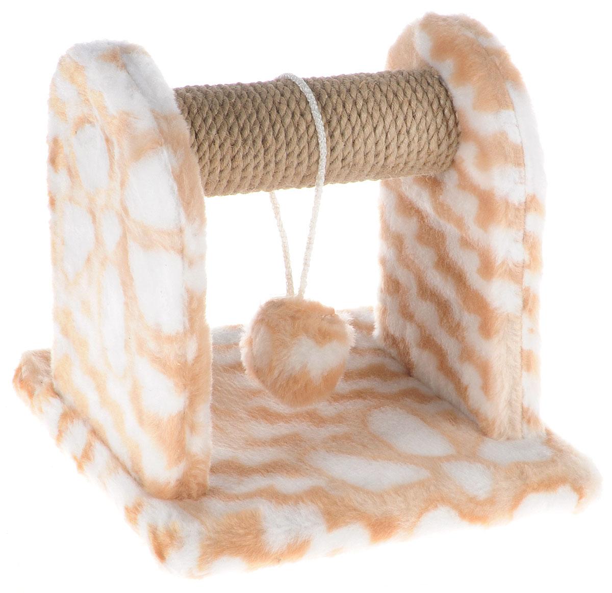 Когтеточка для котят  Меридиан , с игрушкой, цвет: белый, бежевый, 26 х 26 х 26 см