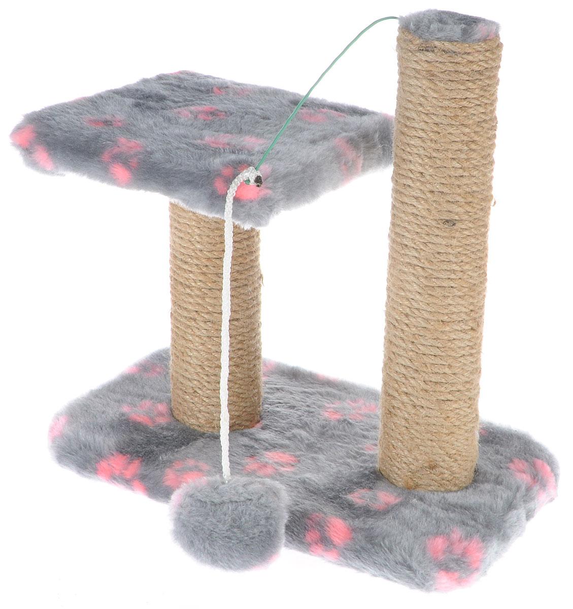 Когтеточка для котят Меридиан, двойная, цвет: серый, розовый, бежевый, 30 х 20 х 34 смК703ЛаКогтеточка Меридиан предназначена для стачивания когтей вашего котенка и предотвращения их врастания. Она выполнена из ДВП, ДСП и обтянута искусственным мехом. Точатся когти о столбик из джута. Когтеточка оснащена подвесной игрушкой и полкой, на которой котенок сможет отдохнуть.Когтеточка позволяет сохранить неповрежденными мебель и другие предметы интерьера.