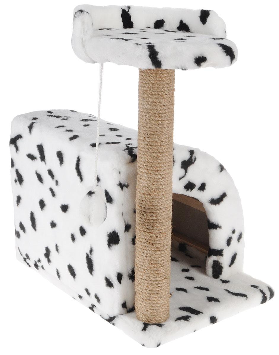 Домик-когтеточка Меридиан, полукруглый, цвет: белый, черный, бежевый, 54 х 40 х 59 смД518ДДомик-когтеточка Меридиан выполнен из высококачественного ДВП и ДСП и обтянут искусственным мехом. Изделие предназначено для кошек. Ваш домашний питомец будет с удовольствием точить когти о специальный столбик, изготовленный из джута. А отдохнуть он сможет либо на полке, либо в домике. Изделие снабжено подвесной игрушкой. Домик-когтеточка Меридиан принесет пользу не только вашему питомцу, но и вам, так как он сохранит мебель от когтей и шерсти.Общий размер: 54 х 40 х 59 см.Размер домика: 36 х 36 х 32 см.Размер полки: 27 х 26 см.