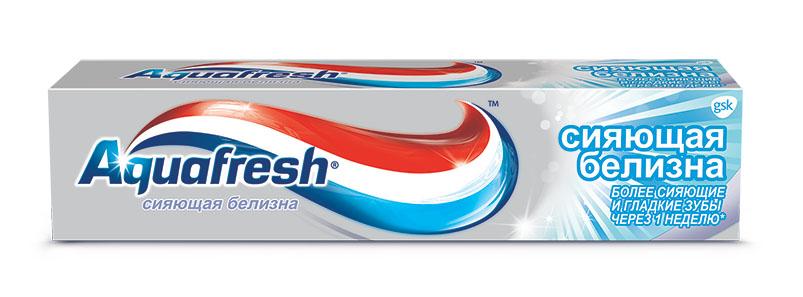 Aquafresh зубная паста Сияющая белизна 100 мл20011235Зубная паста в виде геля с мятной формулой. Освежает и одновременно чистит зубы, ваша улыбка становится белоснежной и сияющей благодаря мягкой полировке гелем, а дыхание - необыкновенно свежим. Содержит микро-гранулы для полировки и отбеливания зубов.