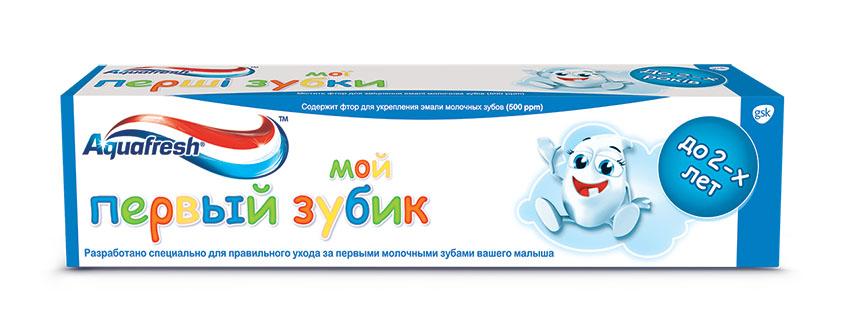 Aquafresh Зубная паста детская Мой первый зубик 0-2лет 50мл411090Зубная паста Aquafresh Мой первый зубик (0-2 года), 50мл. Содержит фтор для укрепления эмали молочных зубов (500 ppm). Разработано специально для правильного ухода за первыми молочными зубами вашего малыша в возрасте до 2 лет. Паста обеспечивает бережный уход и защищает от кариеса молочные зубы вашего ребенка, благодаря чему постоянные зубы будут расти здоровыми и крепкими.