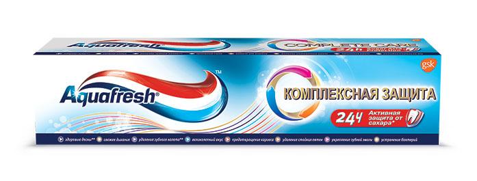 Aquafresh Зубная паста Комплексная защита 100мл20012015Aquafresh Комплексная защита -всесторонняя защита для всей семьис освежающим вкусом.Здоровыедесны.Свежее дыхание.Удаление зубного налета. Великолепныйвкус. Предотвращение кариеса.Удаление стойких пятен.Укреплениезубной эмали.Устранение бактерий.В формуле Sugar Acid Protectionфтор помогает защитить поверхность зубовот воздействиякислот, образуемых из сахаров и провоцирующих кариес.