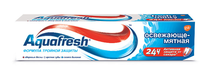 Aquafresh Зубная паста 3+ Освежающе-мятная 100 мл aquafresh зубная щетка hd зубная паста отбеливающая aquafresh 75 мл
